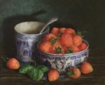 Still Life in oil on board 'Strawberries in Willow Pattern Bowl'