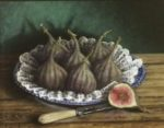 Still Life in oil on board 'Figs and Blue & White China'