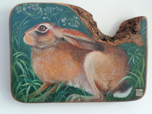 Hand Painted Olive Wood Panel  'Crouching Hare'