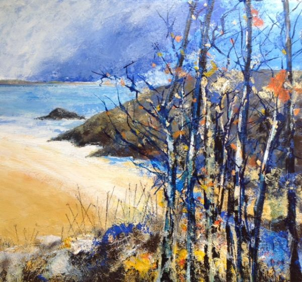 Acrylic and pastel Original painting 'October Blue'
