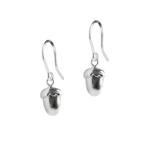 Silver Acorn drop earrings