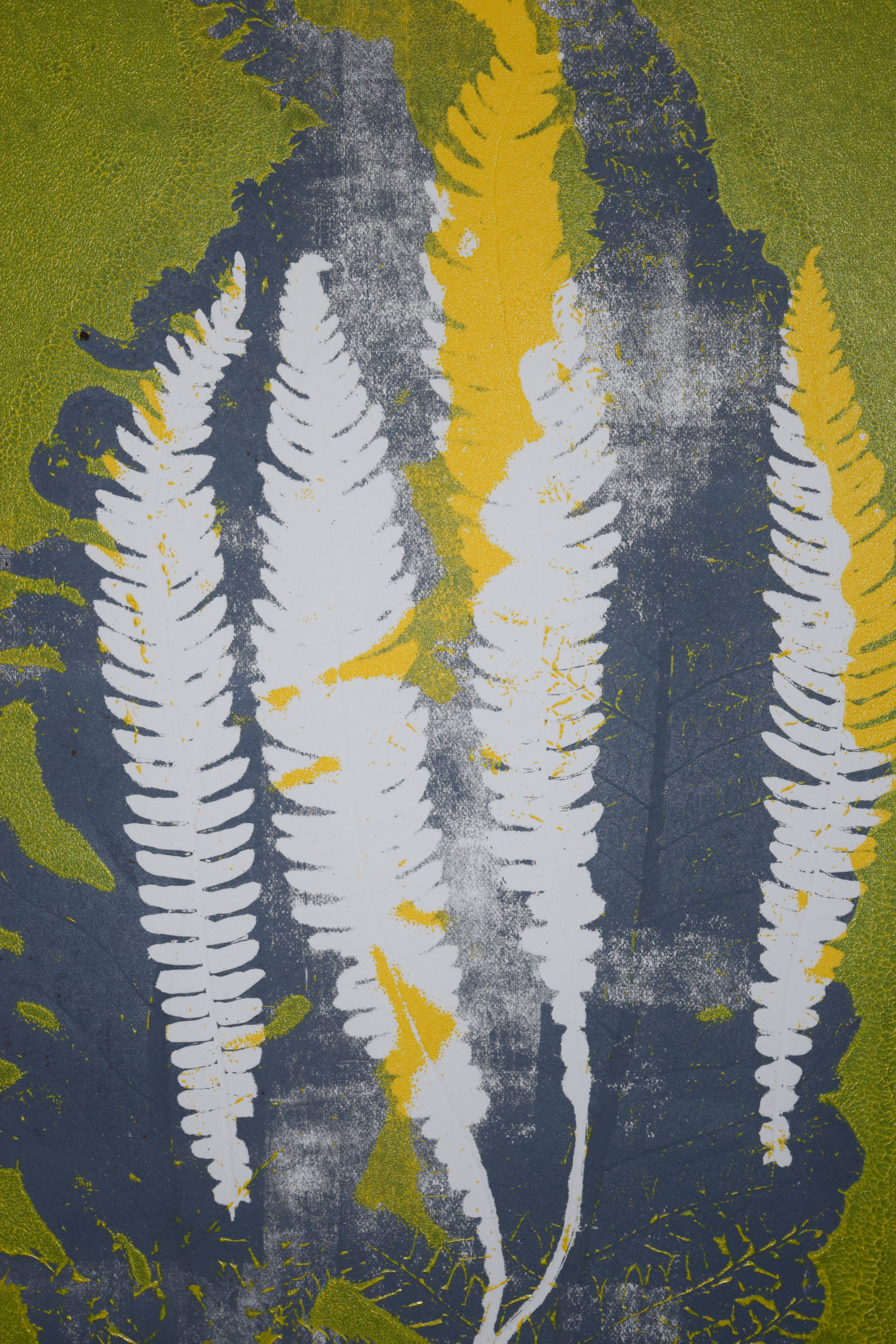 Coloured Monoprint – Ferns in grey and yellow