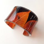 Perspex Cuff Ginger Skeleton Leaf