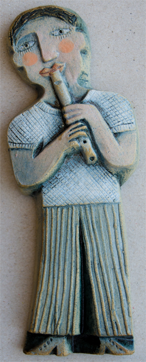 Ceramic Relief Tin Whistle