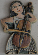 Ceramic Relief Cello Player