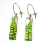 Acrylic Earrings Lime Green Fern