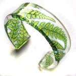 Acrylic Cuff Lime Green Fern