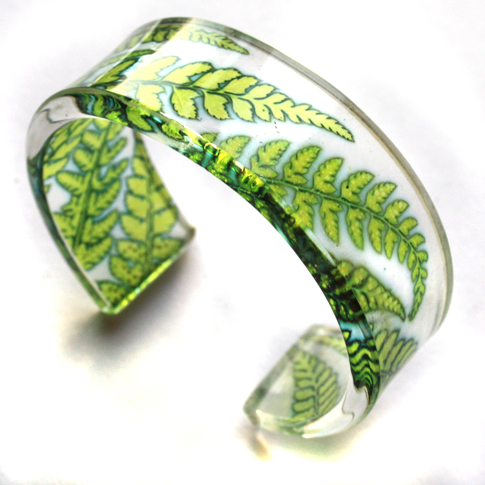 Acrylic Cuff Lime Green Fern