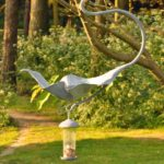Hot Forged and Galvanised Hanging Leaf Bird Bath with feeder.