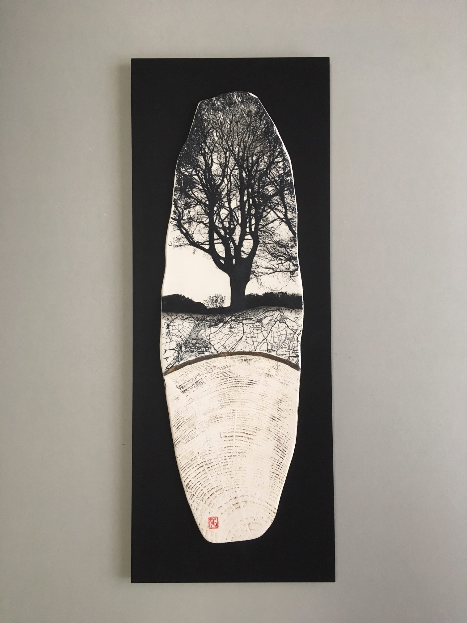 Ceramic Wall Mounted 'Tree Lines' Printed Porcelain