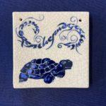 Square Raku Tile - Tortoise