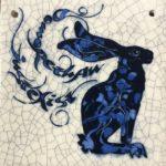 Small Square Raku Tile Blue Hare