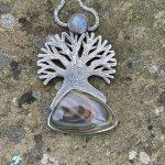 Silver Tree Pendant with Jasper & Moonstone