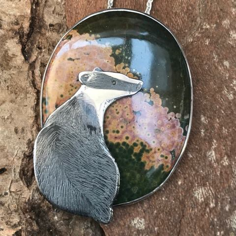 Silver Pendant 'Badger in the Heather'