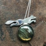 Silver Pendant 'Leaping Fox' with Labradorite
