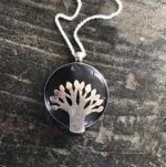 Silver Pendant Tree of Life on round amethyst
