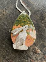 Silver Pendant Seated Hare