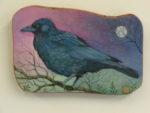 Hand Painted Olive Wood Panel 'Moonlit Vigil'