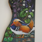 Hand Painted Olive Wood Panel 'Mandarin Summer'