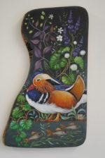Hand Painted Olive Wood Panel 'Mandarin Summer'