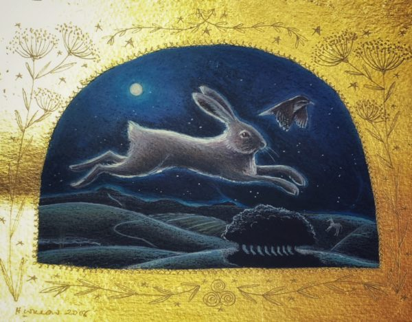 Original pencil, acrylic and 24ct Gold 'Hare and Wren'