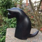 Hand Carved Wood Sculpture Cat Peering