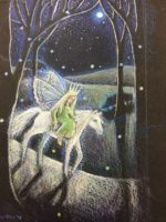 Original pencil, acrylic and 24ct Shell Gold 'The Queen of Elfland'