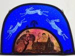 Stained Glass Panel Sky Hares