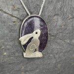 Silver Hare over Lepidolite