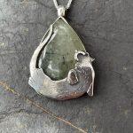 Silver Otter with Black Diamond Eye and Prehinite