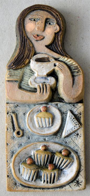 Ceramic Relief Tea and a Muffin