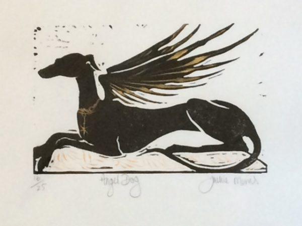 Lino Cut Angel Dog