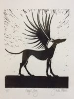 Lino Cut Angel Dog l