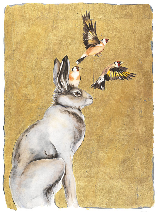 The Lost Words Limited Edition Print Gold Hare and Goldfinches
