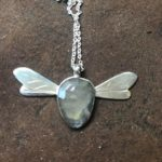 Silver Pendant 'Faery Bee' with facetted Sapphire.