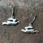 Silver Leaping Hare Drop Earrings