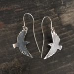 Silver Crow Drop Earrings with Black Diamond eye