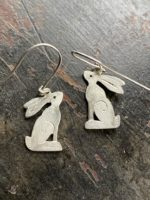 Silver Seated Hare Drop Earrings with black diamond eyes