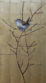 Original mixed media with gold leaf Wren on Gold