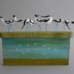 Carved Wood Sculpture Avocets
