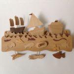 Wooden Automata Three Boats Sailing