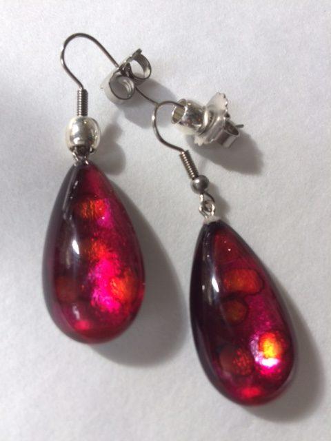 Acrylic Drop Earrings in Burgundy with Orange spots