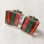 Acrylic Cufflinks in  stripy candyfloss