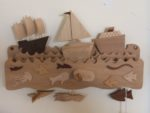 Wooden Automata Three Boats Sailing