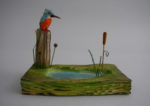 Hand Carved Wood  'Kingfisher and Pond'