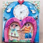 Papier Mache Clock 'Tunnel Of Love'