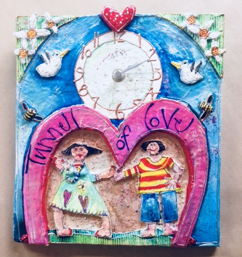 Papier Mache Clock 'Tunnel Of Love'