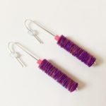 Polythene and Silver Hot Pink & Purple Drop Earrings