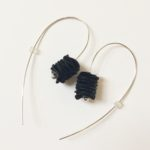 Polythene and Silver Black Long Curved Earrings