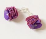 Polythene and Silver Purple & Hot Pink Stud Earrings